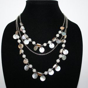 Beautiful silver pearl and natural shell necklace
